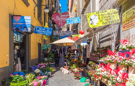 Naples, Italy - 13 May 2017 - The historic center of the biggest city of south Italy.