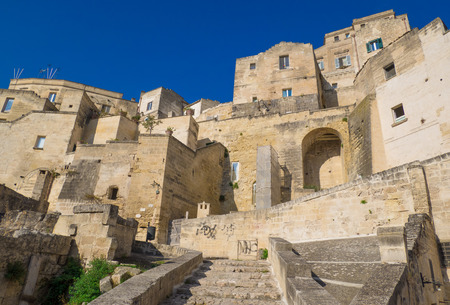 Matera, Italy - 1 October 2017 - The historic center of the wonderful stone city of southern Italy, a tourist attraction for the famous Sassi building rock.