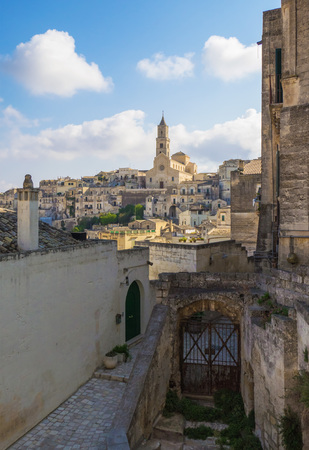 Matera, Italy - The historic center of the wonderful stone city of southern Italy, a tourist attraction for the famous Sassi building rock.