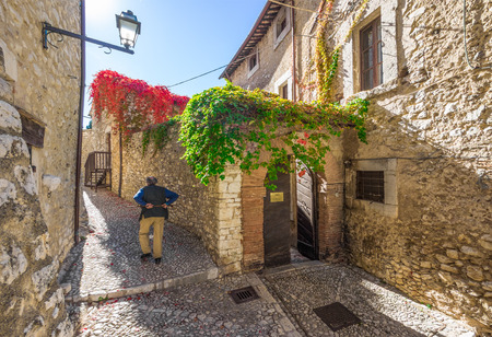 Labro, Italy - 15 October 2017 - In province of Rieti, Labro is a very nice little medieval stone town over the Piediluco lake, in Lazio region, the border with Umbria region Editorial