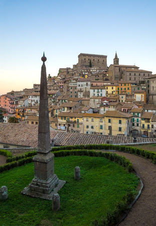 Soriano nel Cimino, Italy - 17 October 2017 - A little town in central Italy, famous for the beechwood forest of Monte Cimino, World Heritage Site, and for the historic center with medieval castle
