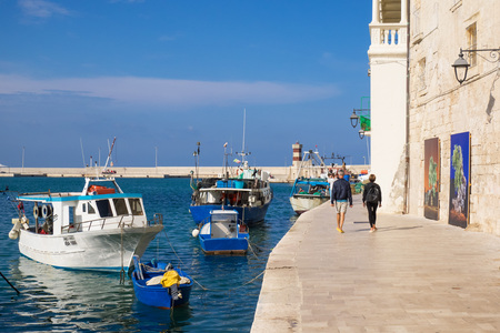 Monopoli, Italy - 28 September 2017 - A white city on the the sea with port, province of Bari, Apulia region, southern Italy Editorial