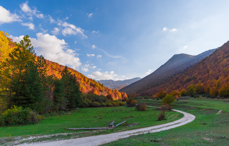 The autumn with foliage in the National Park of Abruzzo, Lazio and Molise (Italy) - An italian mountain natural reserve, with little old towns, the Barrea Lake, Camosciara, Forca dAcero, Val Fondillo