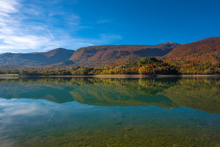 National Park of Abruzzo, Lazio and Molise (Italy) - The autumn with foliage in the italian mountain natural reserve, with little old towns, the Barrea Lake, Camosciara, Forca dAcero, Val Fondillo