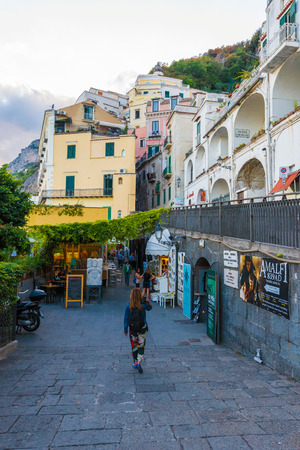 Amalfi, Italy - 14 September 2017 - The awesome historic center of the touristic town in Campania region, Gulf of Salerno, southern Italy. This small town gives its name to the Amalfi Coast. Editorial