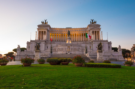 Rome, Italy - 27 October 2017 - The Vittoriano monument at Piazza Venezia square, also know as Altare della Patria.