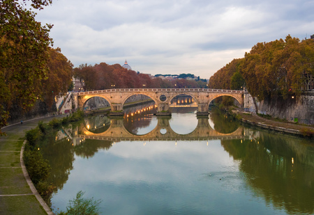 Rome (Italy) - The Tiber river and the monumental Lungotevere.