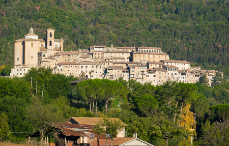Contigliano, Italy - 15 October 2017 - The historic center of an old and very little stone town in Sabina region, province of Rieti, central Italy Editorial