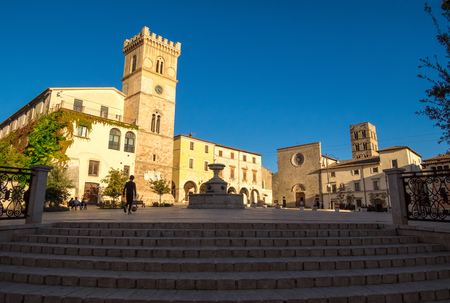 Cittaducale, Italy - 15 October 2017 - The historic center of an old and very little stone town in Sabina region, province of Rieti, central Italy