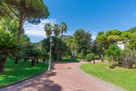 Salerno, Italy - 16 September 2017 - The historic center of the big city on Tirreno sea, Campania region, southern Italy. Here in particular the central park Editorial