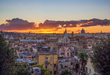Rome (Italy) - The sunset from Terrazza del Pincio terrace in Villa Borghese park
