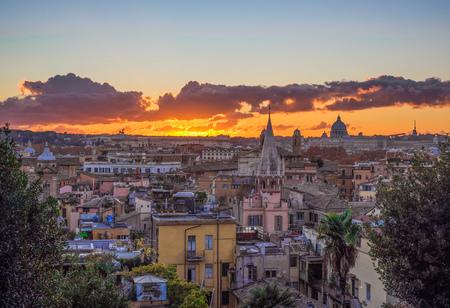 Rome (Italy) - The sunset from Terrazza del Pincio terrace in Villa Borghese park