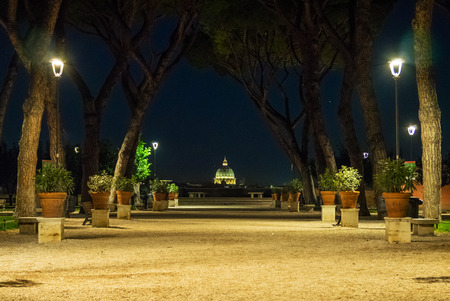Rome (Italy) - The Tiber river and the monumental Lungotevere. Here in particular the Giardino degli Aranci garden