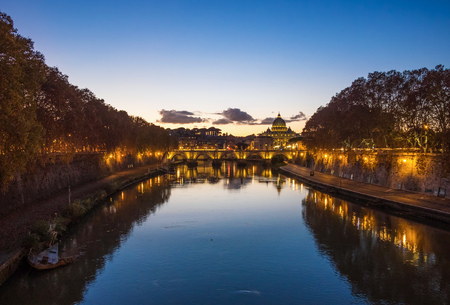 Rome (Italy) - The Tiber river and the monumental Lungotevere. Here in particular the Saint Peter in Vatican