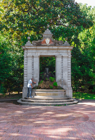 Salerno, Italy - 16 September 2017 - The historic center of the big city on Tirreno sea, Campania region, southern Italy. Here in particular a fountain in central park