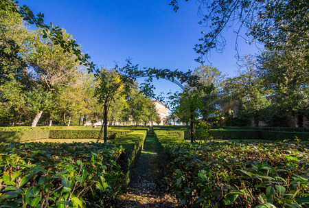 Caprarola, Italy - 1 November 2017 - The historic center and Palazzo Farnese museum, an awesome ancient Villa with garden in province of Viterbo, Lazio region, central Italy