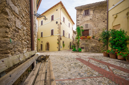 Castelnuovo di Farfa, Italy - 24 September 2017 - A very little medieval town in province of Rieti, Lazio region, central Italy. Here in particular the nice historic center in stone