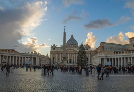 Rome, Italy - 16 December 2017 - The Saint Peter basilica in Vatican with the dome during the Christmas holidays.