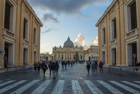Rome, Italy - 16 December 2017 - The Saint Peter basilica in Vatican with the dome during the Christmas holidays. Here in particular the view from Via della Conciliazione street