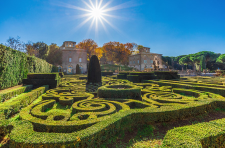Bagnaia (Viterbo), Italy - 18 November 2017 - The awesome geometric garden of Villa Lante, a mannerist park with cascades, fountains and dripping grottoes, here in autumn. Редакционное