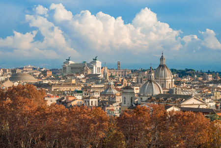 Rome (Italy) - The cityscape from Castel Sant'Angelo monument, a castle beside Saint Peter in Vatican Archivio Fotografico