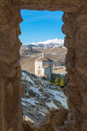 Rocca Calascio (Italy) - The ruins of an old medieval village with castle and church, over 1400 meters above sea level, on the Apennine mountains, in the heart of Abruzzo.