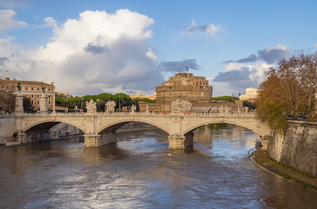 Rome (Italy) - The Tiber river and the monumental Lungotevere with Isola Tiberina island and old bridges