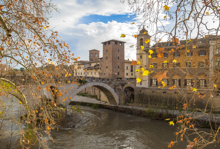 Rome (Italy) - The Tiber river and the monumental Lungotevere with 'Isola Tiberina' island and old bridges