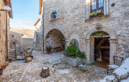 Santo Stefano di Sessanio, Italy - 23 December 2017 - The small and charming medieval stone village, in Gran Sasso National Park, Abruzzo region, at 1250 meters, almost destroyed by an earthquake