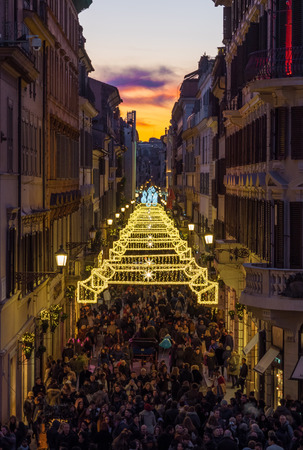 Rome, Italy - 2 January 2018 - Piazza di Spagna square and the Trinità dei Monti stairway during the Christmas holiday, with lights decorations and Christmas tree Editorial