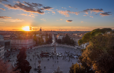 Rome, Italy - 2 January 2018 - The historic center of Rome. Here in particular the Piazza del Popolo square at sunset, from Terrazza del Pincio