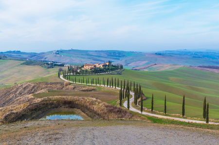 Crete Senesi, Italy - 14 January 2018 - An beautiful area of Tuscany region, south of Siena famous for the wonderful landscape (protected with municipal copyright).