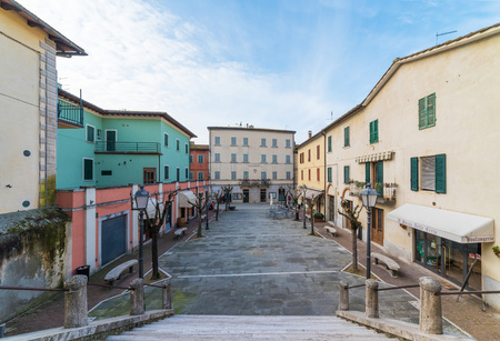 Asciano, Italy - 14 January 2018 - A nice little town in province of Siena, Tuscany region, in the heart of Crete Senesi area. Here in particular the historic center.