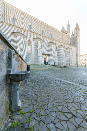 Orvieto, Italy - 21 January 2018 - The historic center of the awesome etruscan and medieval town in the Umbria region.