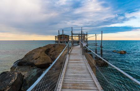 Trabocchi Coast in the Abruzzo region (Italy) - Wooden architecture on the sea Stock Photo