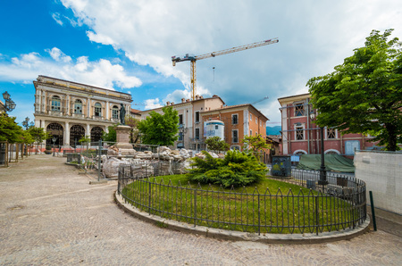 LAquila, Italy - 7 May 2016 - The historic center of Abruzzo capital, central Italy, destroyed by an earthquake in 2009, now under reconstruction Editorial