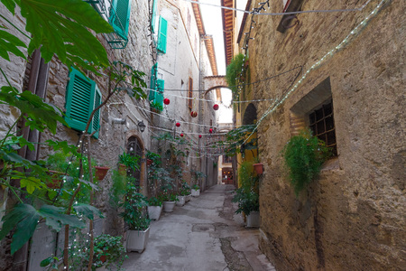 Bevagna, Italy - 6 January 2018 - A beautiful and charming medieval village in the heart of the Umbria region. Here the historic center