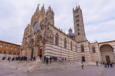 Siena, Italy - 14 January 2018 - A characteristic place of wonderful historic center in the famous city of Tuscany region, central italy, declared by UNESCO a World Heritage Site.