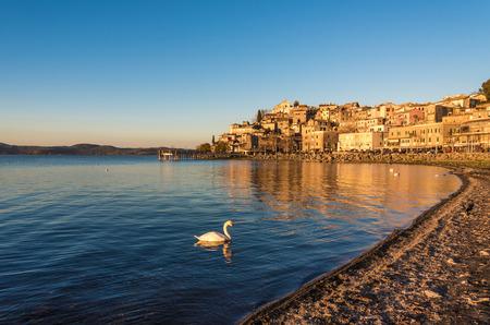 Anguillara Sabazia (Rome, Italy) - The Bracciano lake at sunset Stock Photo