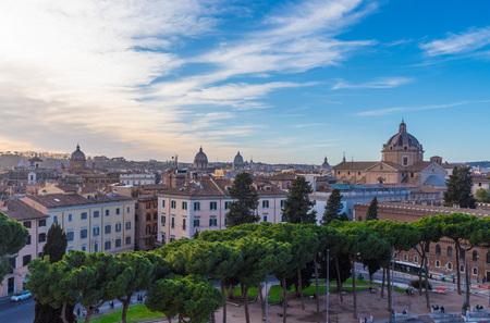 Rome, Italy - The cityscape from Vittoriano monument, in the center of Rome, also know as Altare della Patria. Stock Photo