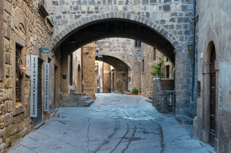 Viterbo, Italy - A sunday morning in the medieval city of the Lazio region. Here the historic center, one of the best preserved medieval towns of central Italy.