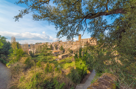 Sutri, Italy - A medieval village of Tuscia area with a fascinating archaeological site dating back to the Roman Empire Stock Photo