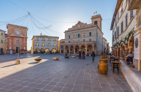 Montefalco, Italy - 6 January 2018 - The nice medieval town of Montefalco, a little city on the hill in province of Perugia, Umbria region, central Italy. Here the historic center.
