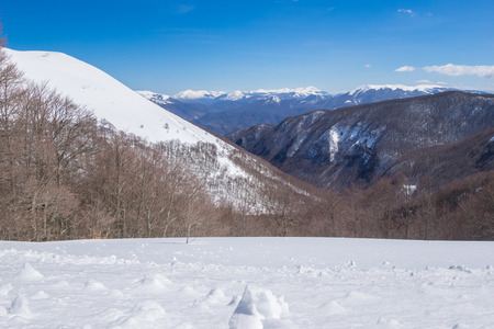 Rieti (Italy) - The summit of Monte Terminillo with snow. 2216 meters, Terminillo Mount is named the Mountain of Rome, located in Apennine range, central Italy