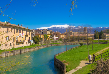 Rieti (Italy) - The historic center of the Sabinas provincial capital, under Mount Terminillo with snow and crossed by the river Velino.