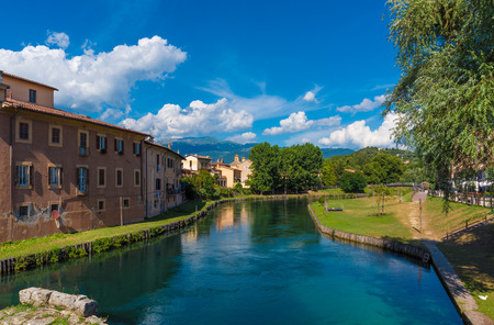 Rieti, Italy - 2 August 2016 - The historic center of the Sabinas provincial capital, under Mount Terminillo and crossed by the river Velino. Here in particular the cityscape 에디토리얼