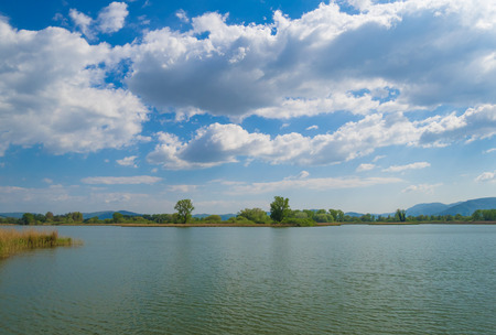 Rieti (Italy) - Natural Reserve of lakes Lungo and Ripasottile, with Terminillo mountain, at the spring