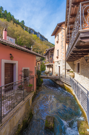Tagliacozzo, Italy - 13 April 2018 - A small pretty village in the province of LAquila, in the mountain region of Abruzzo, during the spring. Here the historic center.