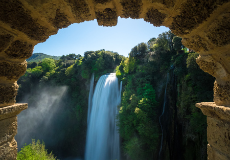 Marmore (Terni), Italy - 21 April 2018 - The Cascata delle Marmore is a touristic park with a man-made waterfall created by the ancient Romans. The fall of Velino river in total is height 165 meters.