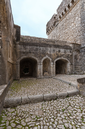 Sermoneta, Italy - 15 April 2018 - A very little and awesome medieval hill town in province of Latina, Lazio region, all in stone with famous Caetani castle